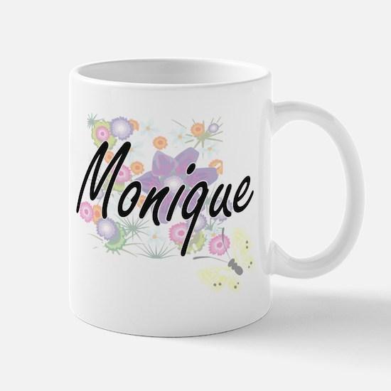 Monique Artistic Name Design with Flowers Mugs