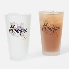 Monique Artistic Name Design with F Drinking Glass