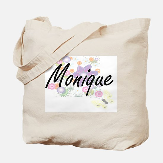 Monique Artistic Name Design with Flowers Tote Bag