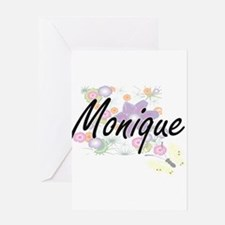 Monique Artistic Name Design with F Greeting Cards