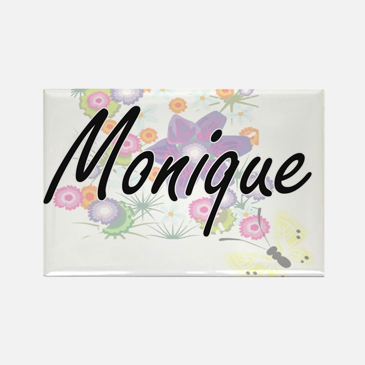 Monique Artistic Name Design with Flowers Magnets