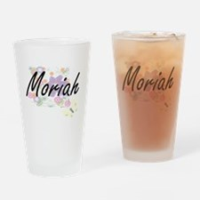 Moriah Artistic Name Design with Fl Drinking Glass