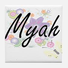 Myah Artistic Name Design with Flower Tile Coaster