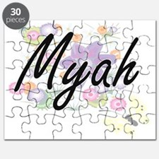 Myah Artistic Name Design with Flowers Puzzle