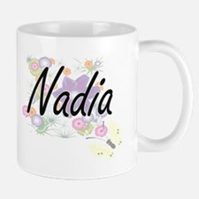 Nadia Artistic Name Design with Flowers Mugs