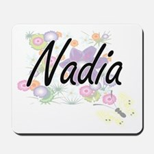 Nadia Artistic Name Design with Flowers Mousepad