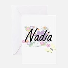 Nadia Artistic Name Design with Flo Greeting Cards