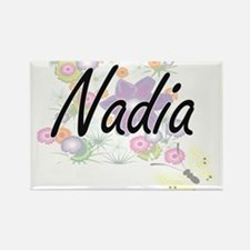 Nadia Artistic Name Design with Flowers Magnets