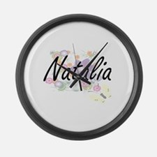 Natalia Artistic Name Design with Large Wall Clock