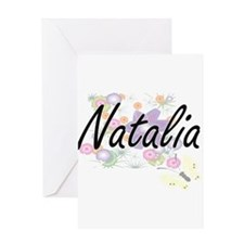 Natalia Artistic Name Design with F Greeting Cards