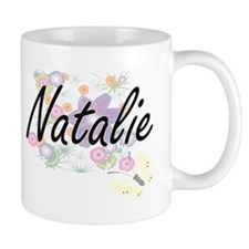 Natalie Artistic Name Design with Flowers Mugs