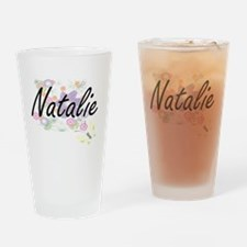 Natalie Artistic Name Design with F Drinking Glass