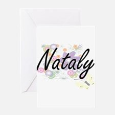 Nataly Artistic Name Design with Fl Greeting Cards