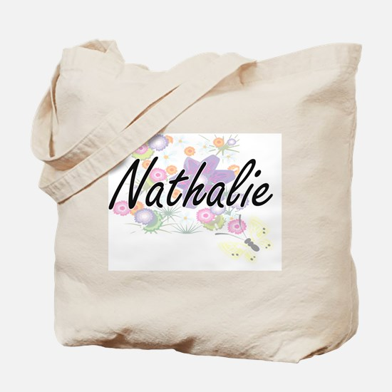 Nathalie Artistic Name Design with Flower Tote Bag