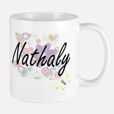 Nathaly Artistic Name Design with Flowers Mugs