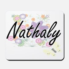 Nathaly Artistic Name Design with Flower Mousepad
