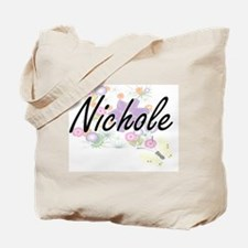 Nichole Artistic Name Design with Flowers Tote Bag