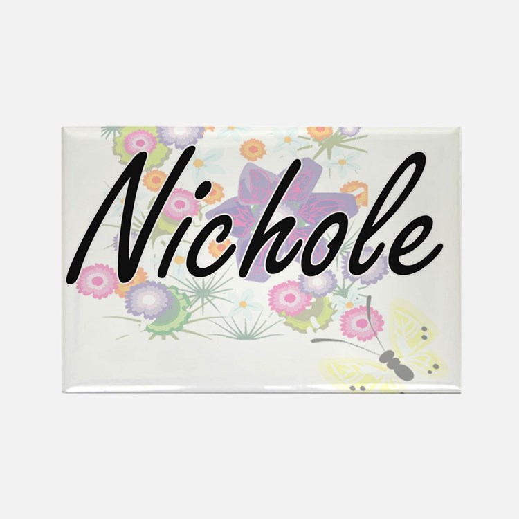 Nichole Artistic Name Design with Flowers Magnets