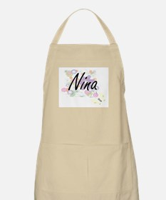 Nina Artistic Name Design with Flowers Apron