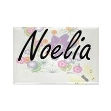 Noelia Artistic Name Design with Flowers Magnets