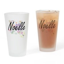 Noelle Artistic Name Design with Fl Drinking Glass