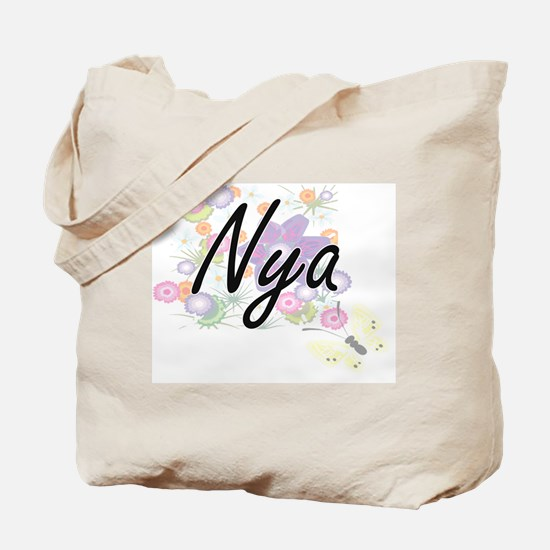 Nya Artistic Name Design with Flowers Tote Bag