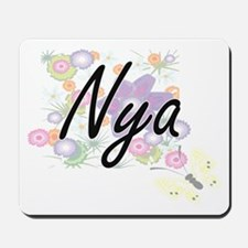 Nya Artistic Name Design with Flowers Mousepad