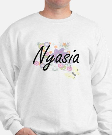Nyasia Artistic Name Design with Flower Sweater