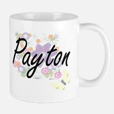 Payton Artistic Name Design with Flowers Mugs