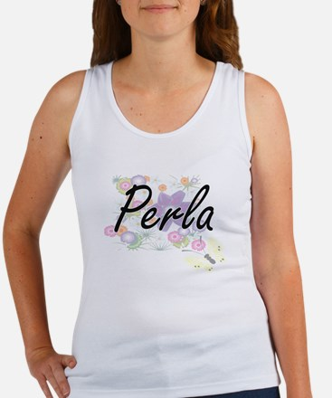 Perla Artistic Name Design with Flowers Tank Top