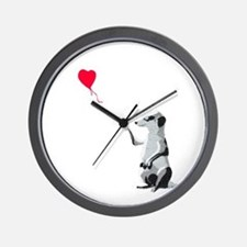 Meerkat with the heart-shaped balloon - Wall Clock
