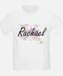 Rachael Artistic Name Design with Flowers T-Shirt