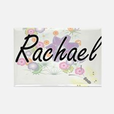 Rachael Artistic Name Design with Flowers Magnets