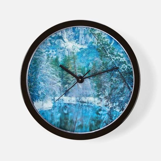 Snowy Reflections Wall Clock