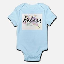 Rebeca Artistic Name Design with Flowers Body Suit