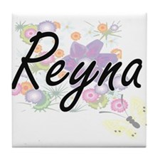 Reyna Artistic Name Design with Flowe Tile Coaster