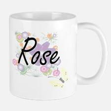 Rose Artistic Name Design with Flowers Mugs