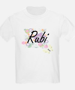 Rubi Artistic Name Design with Flowers T-Shirt