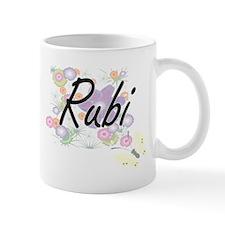 Rubi Artistic Name Design with Flowers Mugs