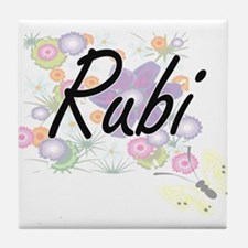 Rubi Artistic Name Design with Flower Tile Coaster