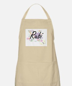 Rubi Artistic Name Design with Flowers Apron