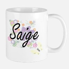 Saige Artistic Name Design with Flowers Mugs
