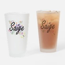 Saige Artistic Name Design with Flo Drinking Glass