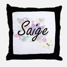 Saige Artistic Name Design with Flowe Throw Pillow