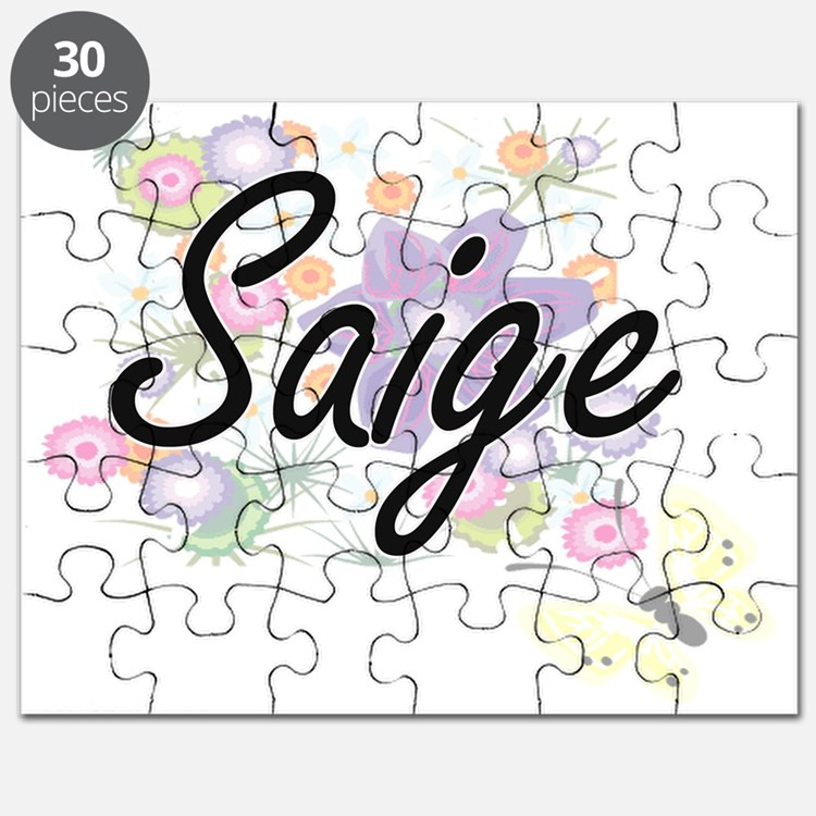 Saige Artistic Name Design with Flowers Puzzle