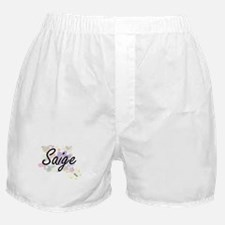 Saige Artistic Name Design with Flowe Boxer Shorts