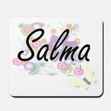 Salma Artistic Name Design with Flowers Mousepad