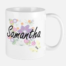 Samantha Artistic Name Design with Flowers Mugs