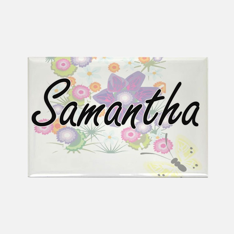 Samantha Artistic Name Design with Flowers Magnets