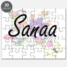 Sanaa Artistic Name Design with Flowers Puzzle